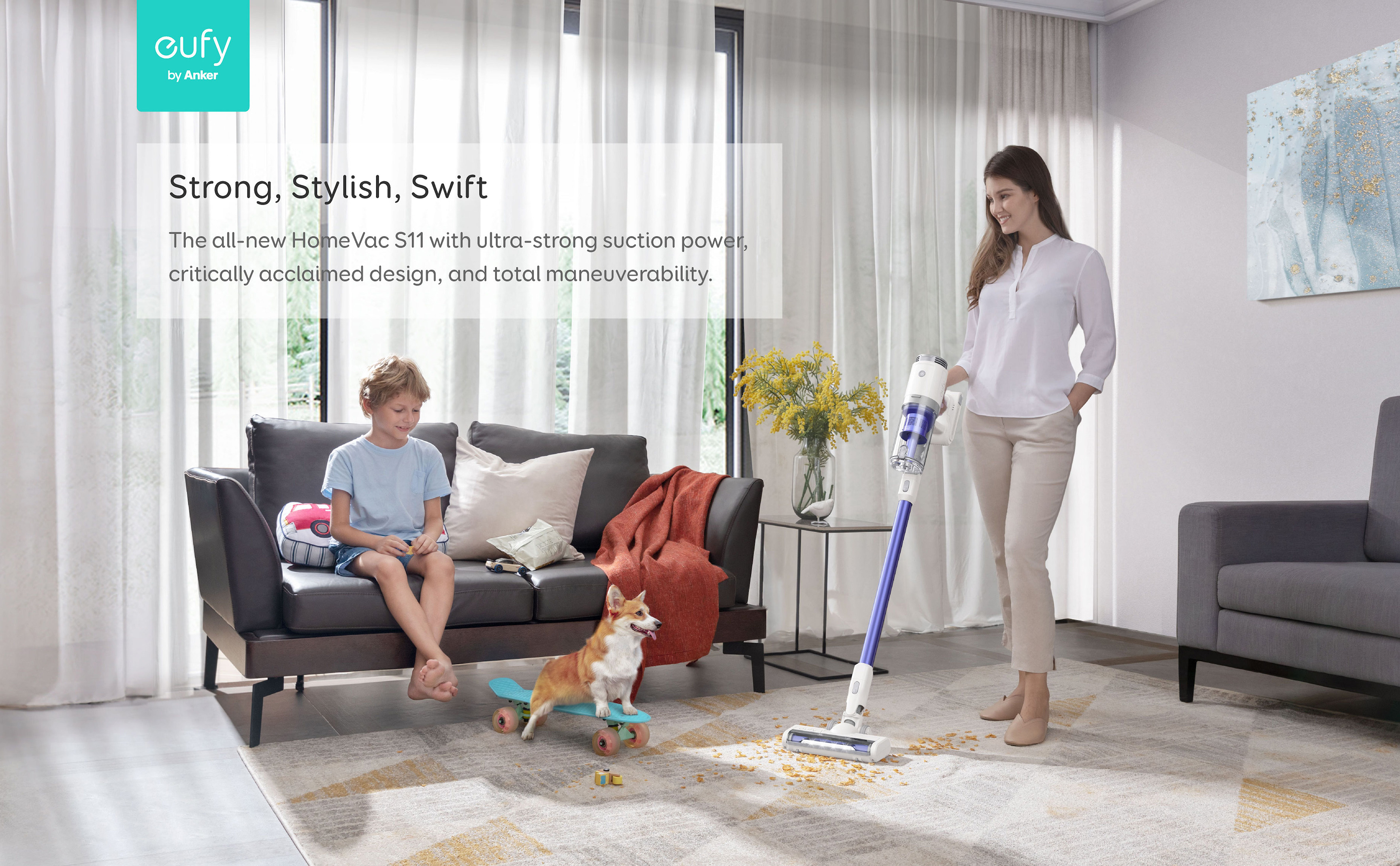 Cleaning is now easy with eufy HomeVac S11, the cordless Go Stick lightweight vacuum cleaner to take on any cleaning task