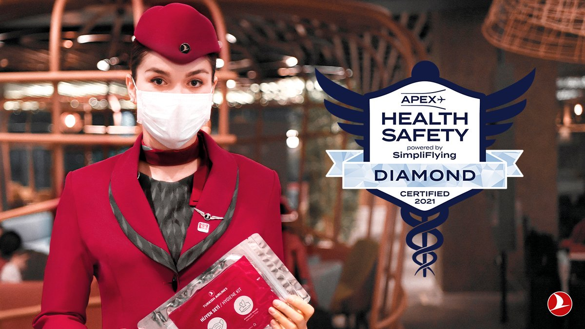"Turkish Airlines reaches highest ""Diamond"" status for health and safety review by APEX and SimpliFlying"